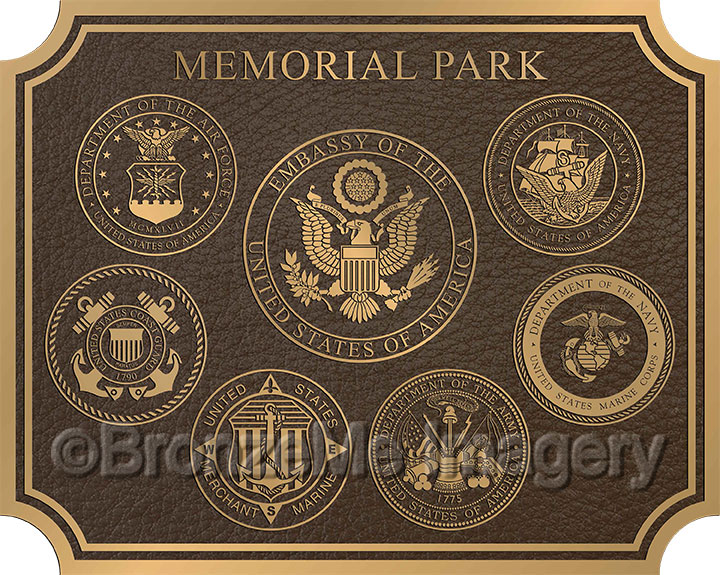military plaque bronze, bronze military seals in honor of