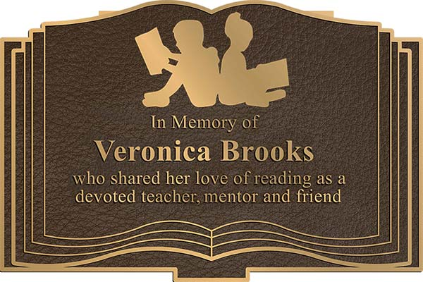 custom bronze plaque, custom bronze plaque with custom open book border