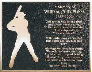 baseball bronze memorial plaque