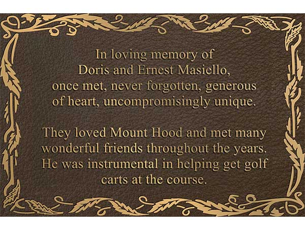 Memorial Plaque, Memorial Plaques, Outdoor Memorial Plaque