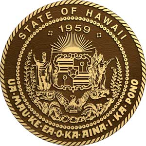 hawaii bronze state seal, hawaii bronze state plaques