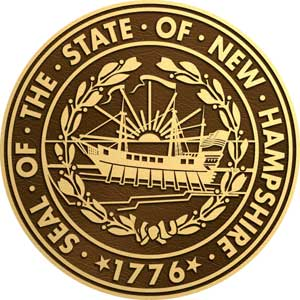 bronze state seal new hampshire, bronze state plaque new hampshire