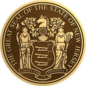 bronze state seal New Jersey, bronze state plaque New Jersey