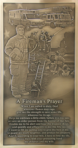 firefighter memorial plaque, bronze fireman plaque