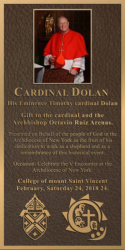 church  plaques, cardinal dolan photo church plaque
