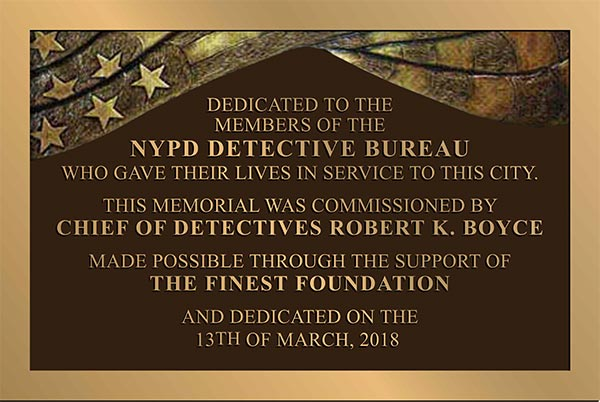 NYPD Bronze Plaque
