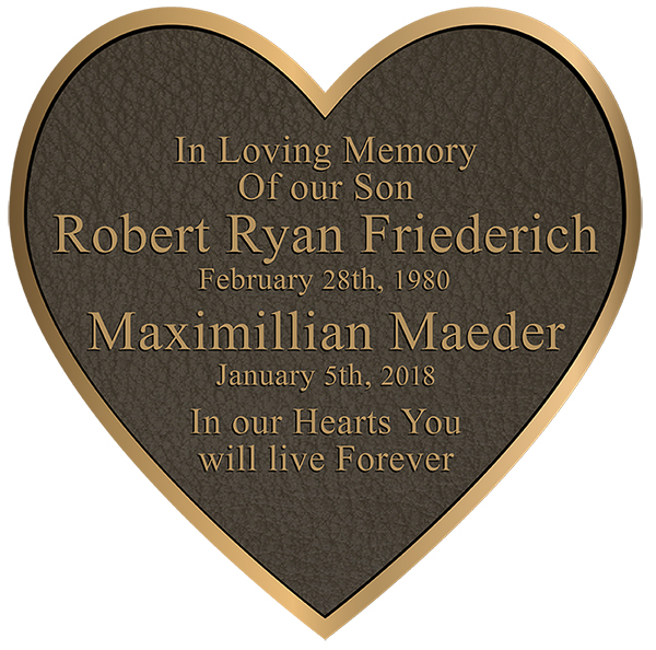 Bronze Plaques Pricing heart plaque