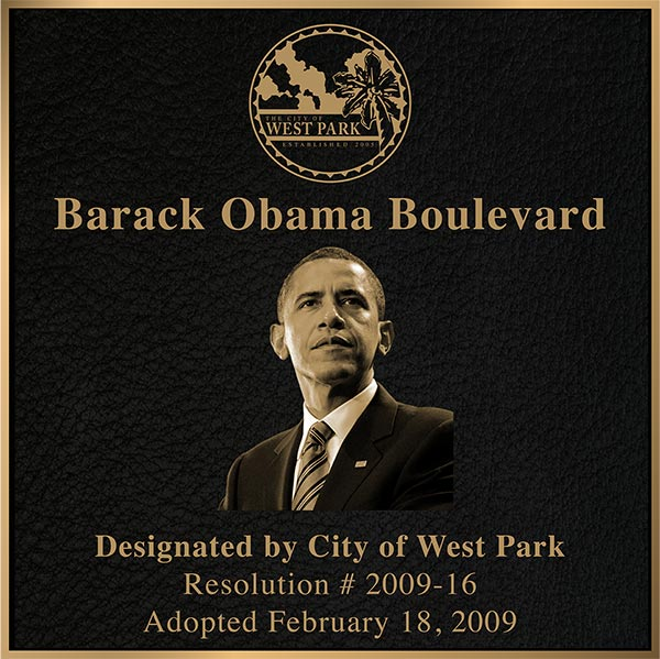 bronze military plaque president obama