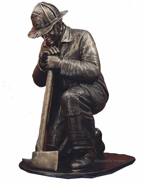 firefighter bronze statue, bronze firefighter statue