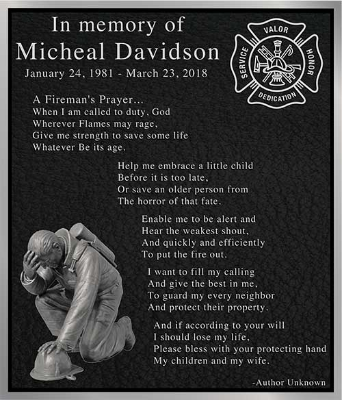 aluminum firefighter plaque, firefighter prayer plaque