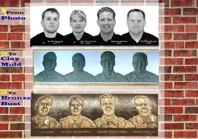 3D Plaques, 3d police officer bronze plaques with 4 3d plaques