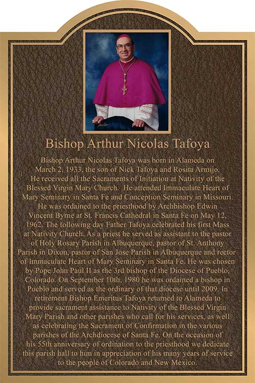 church plaques, bishop tafoya church plaque