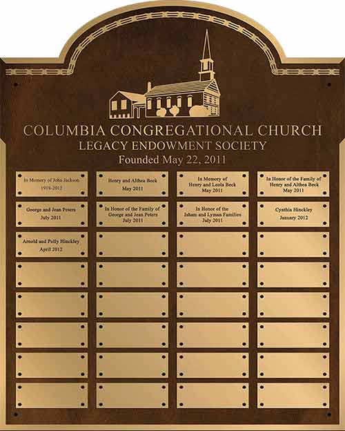 custom metal plaque, custom bronze plaques, add on donation plaques