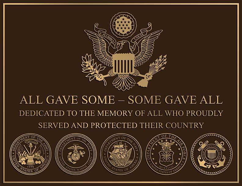 veterans memorial plaques, cast bronze veteran plaque