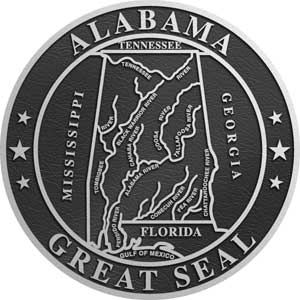 aluminum state seal alabama, aluminum state plaque alabama