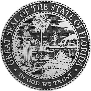 metal state seal florida, aluminum state seal florida