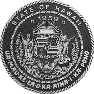 hawaii Aluminum State Seal, hawaii bronze state plaques