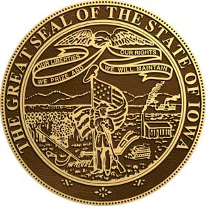 iowa bronze state seal, iowa state bronze plaque