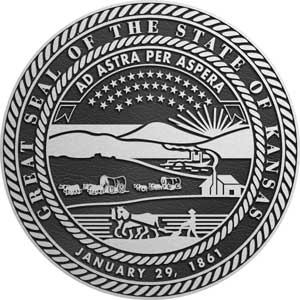 Kansas Aluminum State Seal, Kansas metal state plaque