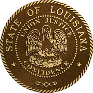 Louisiana bronze state seal, Louisiana state bronze plaque