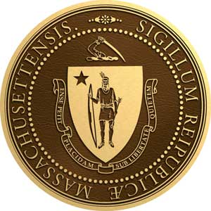massachusetts bronze state seal, massachusetts bronze plaque
