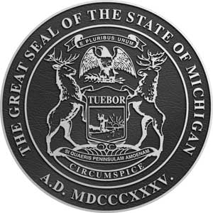 michigan Aluminum State Seal, michigan aluminum state plaque