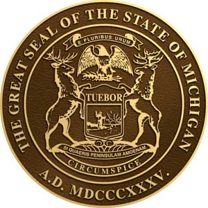 michigan bronze state seal, michigan bronze state plaque