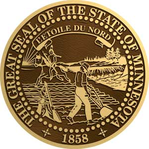 Minnesota bronze state seal, Minnesota bronze plaque