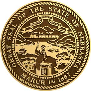 Nebraska bronze state seal, Nebraska bronze plaque