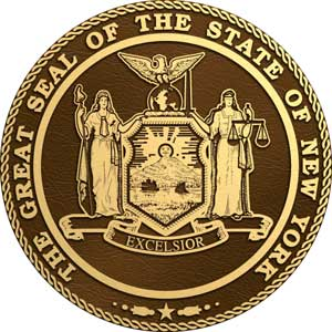bronze state seal new york, bronze state plaque new york