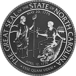 north carolina metal state plaques, north carolina Aluminum State Seals