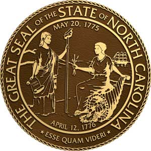 north carolina bronze state plaques, north carolina bronze state seals