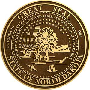 north dakota bronze state plaques, north dakota bronze state seals