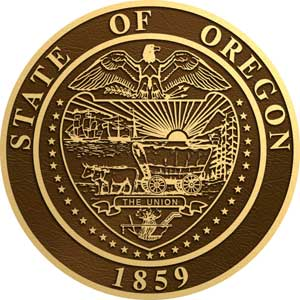oregon bronze state seal, Oregon bronze plaque