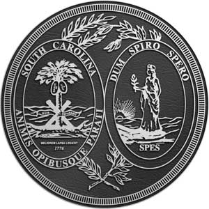 South Carolina Aluminum State Seal, South Carolina aluminum  plaque