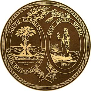 South Carolina bronze state seal, South Carolina bronze plaque