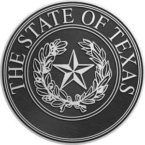 Texas Aluminum State Seal, Texas aluminum plaque