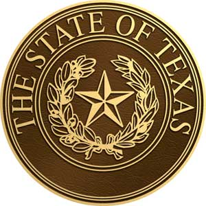 Texas bronze state seal, Texas bronze plaque