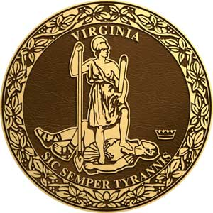 Virginia bronze state seal, virginia bronze plaque