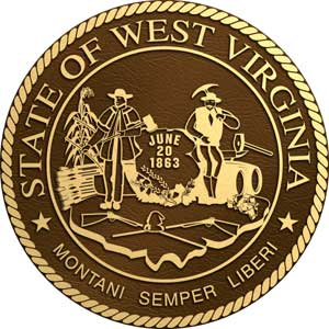 West Virginia bronze state seal, West Virginia bronze state plaque
