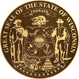 Wisconsin bronze state seal, Wisconsin bronze plaque